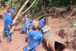 Local do rompimento é de difícil acesso. Foto: Divulgação/ PMM