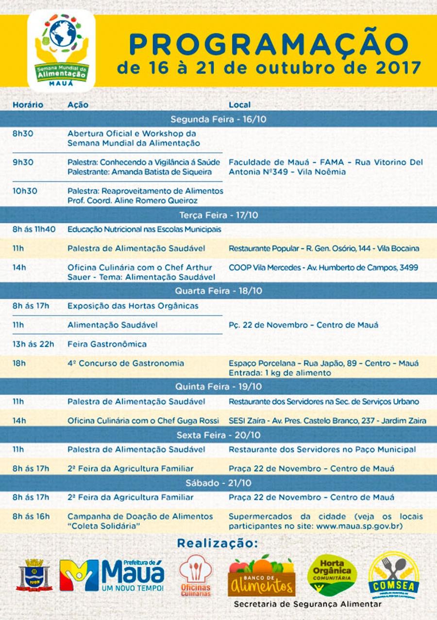 Mauá tem variedade de eventos na Semana Mundial da Alimentação. Crédito: divulgação